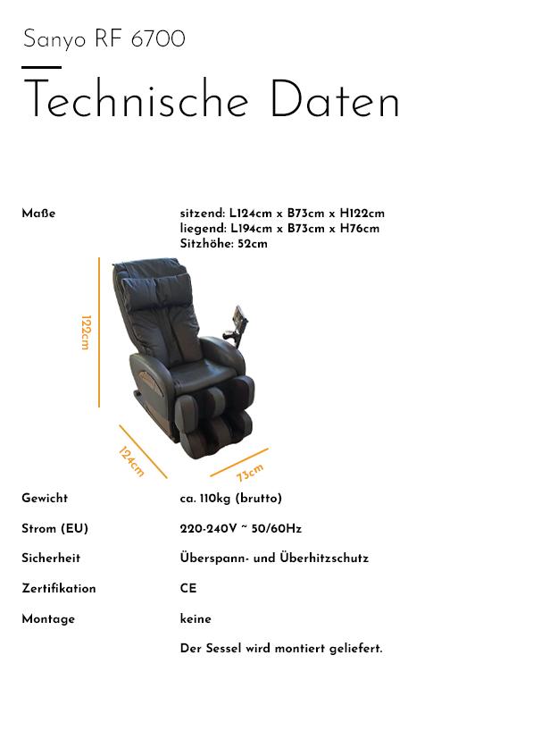 Sanyo - RF 6700 - Technische Daten